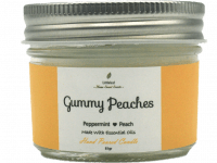 SCENTED CANDLE - GUMMY PEACHES – Peppermint + Peach – TRAVEL SIZE 81GR