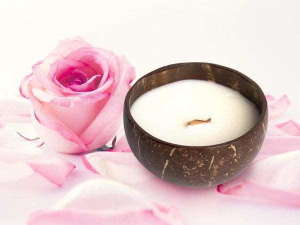 natural coconut shell candle rose